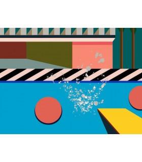 Digital drawing Memphis-Hockney by Stéphane Franck Berthelot