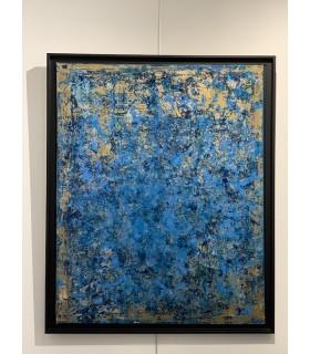 """Peinture sur toile """"Or Bleu"""" par Flavie Bébéar"""