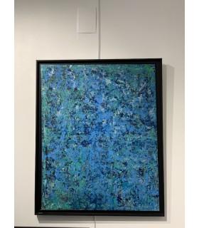 Peinture sur toile abstraite bleu et vert par flavie Bébéar