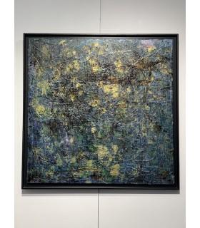 Peinture sur toile or, bleu, vert par Flavie Bébéar