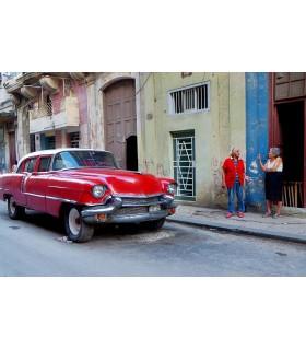 Photo de Cuba, red car par Maurice Renoma
