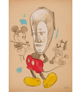 Drawing of Tribal Mickey by Garth Bowden