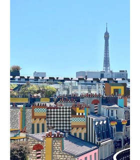 Photograph and digital drawn Paris Memphis by Stephane Franck Berthelot - SfB - Tour Eiffel